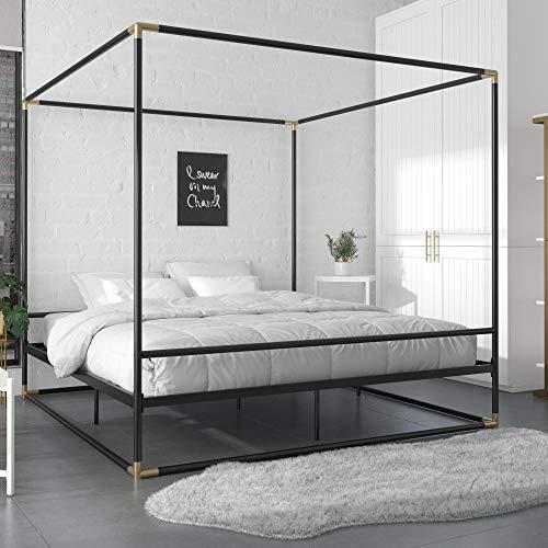 CosmoLiving by Cosmopolitan CosmoLiving Celeste Canopy Metal, King Size Frame, Black/Gold Bed