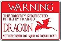 警告!ドラゴンによって保護された私有財産金属ブリキ看板ホーム装飾壁アート