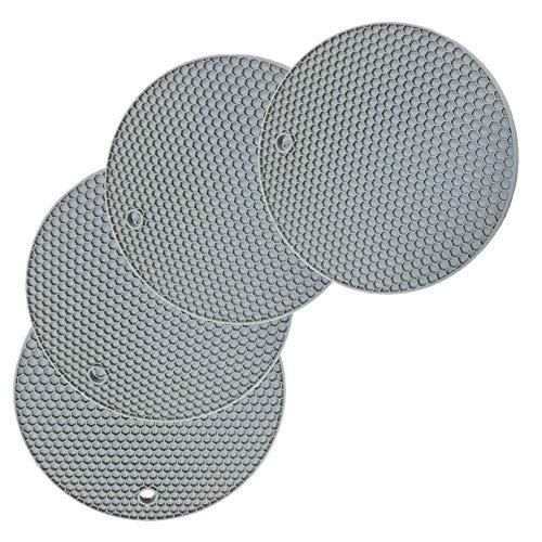 Fohil 4 Pezzi Tappetino Sottopentola in Silicone Spesso, Tappetino Isolante a Nido d'Ape in Silicone Rotondo Resistente al Calore Antiscivolo per Uso Domestico