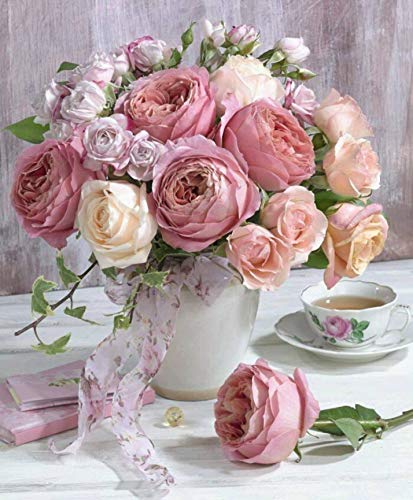 NAXIEE DIY Diamant Malerei,5D Diamond Painting Vollbohrer Stickerei rosa Rose Blumen in vase gem?lde Kreuzstich Kits Home Wand Decor(30 * 40cm)
