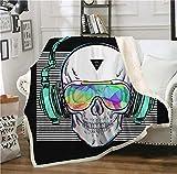 SHOMPE Music Skull Throw Blanket White Stripes Punk Rocker Headphone Skull Printed Soft 3D Cool Plush Sherpa Kids Men Women Fleece Blankets 50