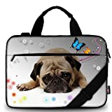 AUPET 11 11.6 12 12.5 12.9 13-13.3 inch Canvas Laptop Sleeve Bag Carrying Messenger Bag Briefcase with Handle and Adjustable Shoulder Strap & External Side Pocket,For ASUS/HP/DELL/Acer (Cute Pug)