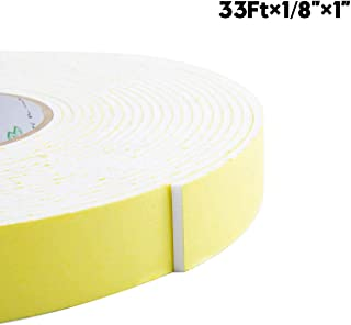 """Foam Insulation Tape, Weather Stripping for Sliding Doors, Seal, HVAC, Windows, Pipes, Air conditioning, Plumbing, High Density Foam Seal Tape, Craft Tape(White, 33Ft x 1/8"""" x 1"""")"""