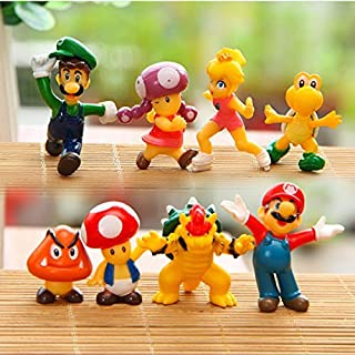 8 Piece Mario Brothers Birthay Cake Topper, Super Mario Bros Action Figures, Mini Super Mario Bros Figures Bundle, 1.5