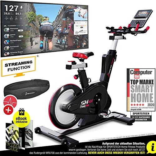 Sportstech Elite Indoor Cycle Bike – Duits kwaliteitsmerk – video events & multiplayer app, computergestuurd magneetremsysteem, 26 kg vliegwiel, SX600 Speedbike sportstuur, ergometer incl. eBook