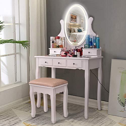 AOOU Vanity Table Set mit 3-farbigem Touchscreen-Dimmer, rundem Spiegel, Schminktisch mit 5 Schiebeschubladen und Touchscreen-Lichtsteuerspiegel für Schlafzimmer, weiß
