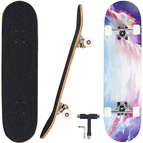"Geelife Skateboard 7 Layers Decks 31""x8"" Pro Complete Skate Board Maple Wood Longboards for Teens Adults Beginners Girls Boys Kids (Illusion)"