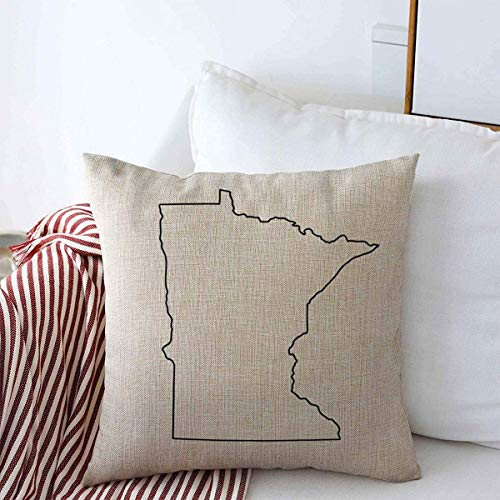 guang Throw Pillow Covers Region Outline Map Us State Minnesota Raster Black Abstract America American Area Design Decorative Cushion Pillow Case Cotton Linen for Winter Decor 16 x 16 Inch