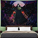 Psychedelic Skull Tapestry Trippy Black Wizard Tapestry Hippie Skeleton Tapestry Colorful Moon Tapestry Wall Hanging for Living Room, W59×H51