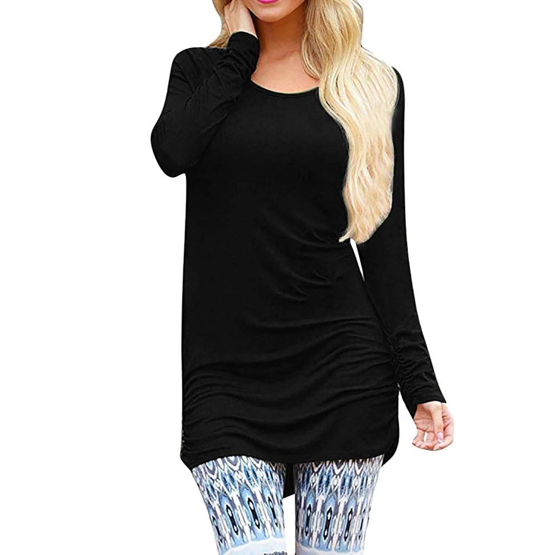 女性のトップス、三番目の店 レディース ファッション カジュアル Vネック ロングスリーブ ルーズ ソリッド ブラウス Tシャツ スリム チュニック Tシャツ ミニドレス