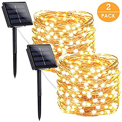 LORRYTE 2-Pack Outdoor Solar String Lights, Ultra-Bright 200LED Solar Lights Outdoor Waterproof Copper Wire 8 Modes Flexible Fairy Lights (Warm White)