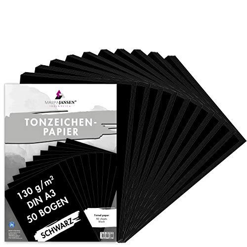 MarpaJansen Tonzeichenpapier in Schwarz Matt, DIN A3, 50 Bogen, 130g/m² Faltpapier zum Basteln von Grußkarten und für Origami geeignet, Blauer Engel zertifiziert