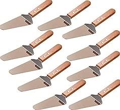10x Pie Server Cake Holder Transfer Triangular Spade Spatula for Pizza Cake Baking Wood Wooden Handle Shovel Stainless Steel