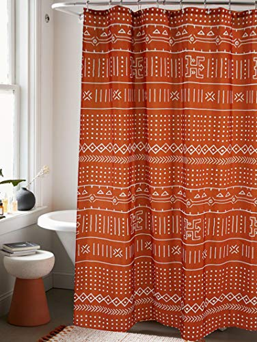 YoKII Mudcloth Fabric Shower Curtain Extra Long 78-Inch Ethnic African Inspired Aztec Boho Bathroom Shower Curtain Sets Mud Cloth Decor, Heavy Weighted & Waterproof (Rusty Red, 72 x 78)