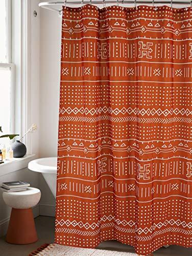 YoKii Mudcloth Fabric Shower Curtain, 72-Inch Ethnic African Inspired Big Arrow Boho Bathroom Shower Curtain Sets Mud Cloth Decor, Heavy Weighted & Waterproof (Rusty Red, 72 x 72)