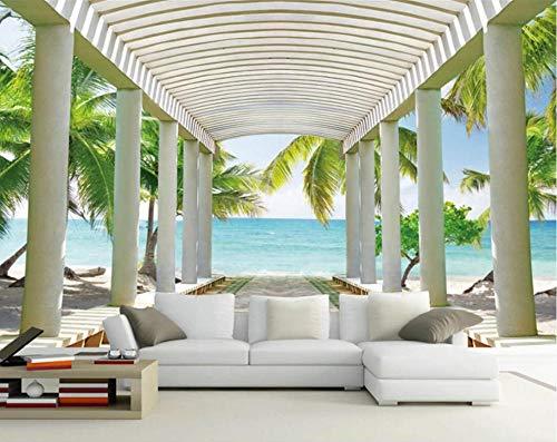 Papel Pintado 3D Playa De Mar De Gran Playa Paisaje Fotomural 3D Papel Tapiz Moderno Papel Pintado Pared Dormitorio 400cmx280cm