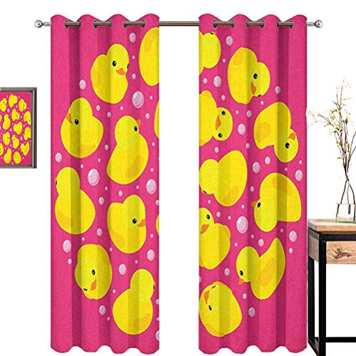 Lowest Prices! Rubber Duck Wear-Resistant Color Curtain Fun Baby Duckies Circle Artsy Pattern Kids B...