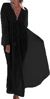 Bestyou Women's Long Rayon Dress Lace Inset Bathing Suit Bikini Swimsuit Cover up Swimwear Beachwear