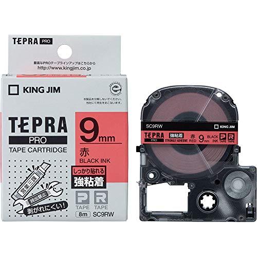 テプラ PRO用テープカートリッジ 強粘着ラベル 赤 SC9RW [黒文字 9mm×8m]