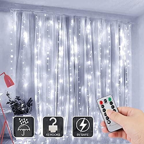 Lichtervorhang 3Mx3M, Sooair Vorhanglichter 300 LEDs USB Lichterkettenvorhang 8 Modi mit Fernbedienung Timer, IP65...