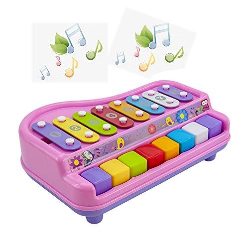 ZXIAQI 2 in 1 Kids Klaviertastatur Xylophon Spielzeug, 8 Notes Musikinstrument Lernen Entwicklungsspielzeug für Boy Girl Geschenk,Rosa