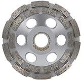 Muela de copa diamante 125 mm x 22,23 mm plata con soporte girado con orificios extractores