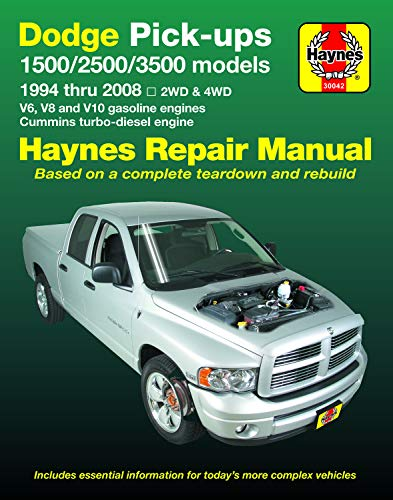 Dodge 1500, 2500 & 3500 Pick-ups (94-08) with V6, V8 & V10 Gas & Cummins turbo-diesel, 2WD & 4WD Haynes Repair Manual (Does not include information specific to SRT-10 models.) (Haynes Automotive)