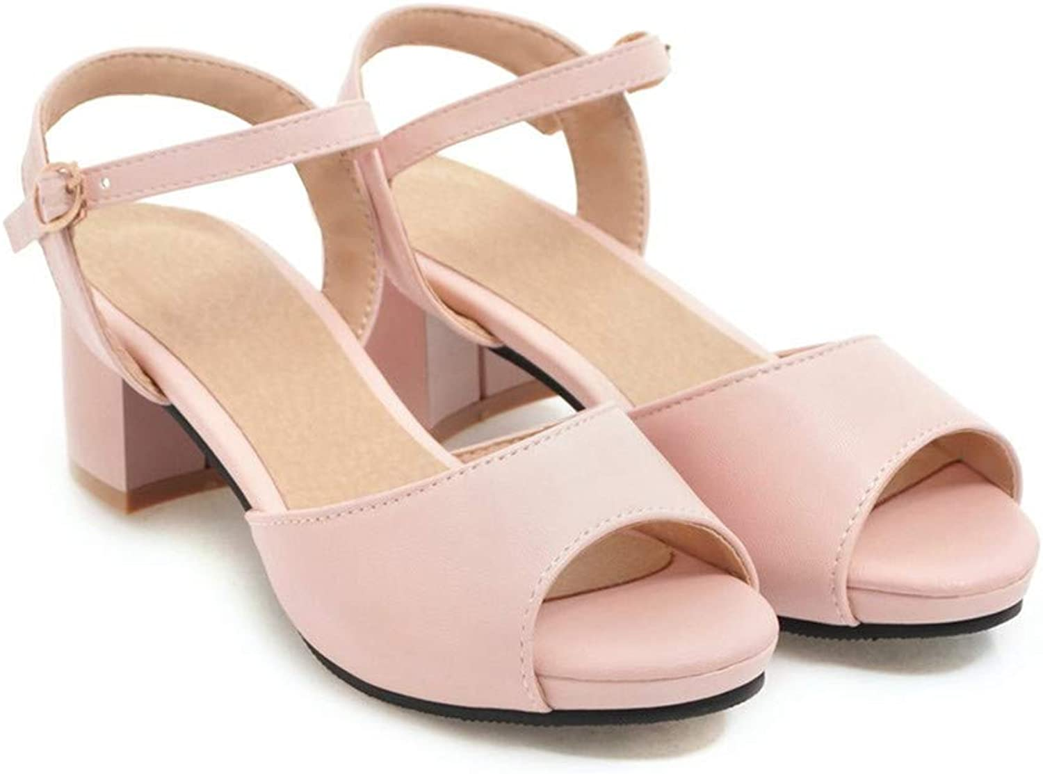 GAO-GEN1 Woman Sandals Big Size 34-47 Summer shoes Simple Buckle shoes Comfortable Square Heel shoes