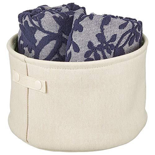 mDesign Cesta de tela con forro y diseño estructurado – Ideal como cesto para baño o como organizador de cosméticos – Práctico organizador de baño de algodón con asas – crema