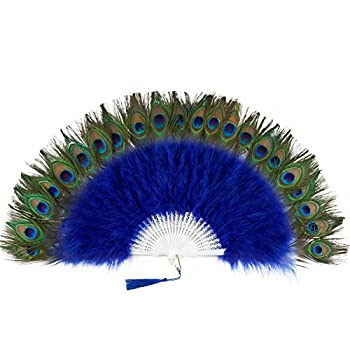 BABEYOND Roaring 20s Vintage Style Peacock & Black Marabou Feather Fan Flapper Accessories  Blue-White Rib
