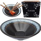 Evovee Japanese Ramen Bowls and Spoons Set 60 oz Ceramic Extra Large Asian Noodle Bowls Ramen Bowls...