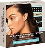 Ear Seeds: Headaches and Migraines 24K & Swarovski Crystal EarSeeds Kit – 40 Pcs. Gold + 20 Pcs. with Swarovski – Precision Tweezers – Complete Ear Acupressure Chart for Headache and Migraine Relief