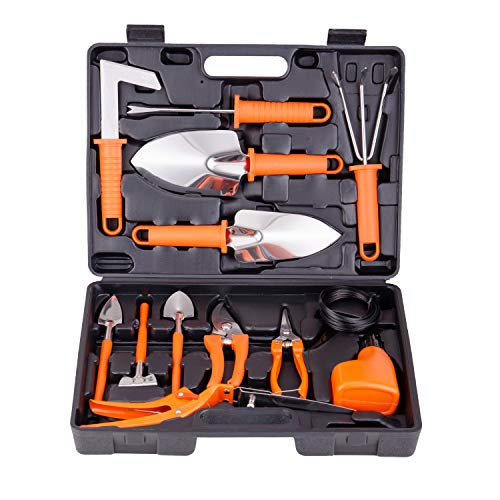 BNCHI Gardening Tools Set,14 Pieces Stainless Steel Garden Hand Tool, Gardening Gifts for Women,Men,Gardener (Orange)