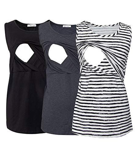 Smallshow Women's 3 Pack Maternity Nursing Tank Tops Medium Black-Deep Grey-SVP082