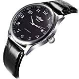 VIGOROSO Mens Watches Automatic Mechanical Black Dial Leather Strap Wrist Watch