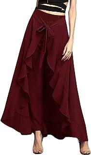 Lrady Women's Ruffle Pants Plain Split Tie-Waist Maxi Long Palazzo Overlay Pant Skirts