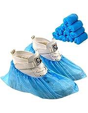 Disino 100 Piezas/50 Pares Impermeable Cubrezapatos Desechables con Banda Elástica, Antideslizante CPE Cubierta de Zapatos para Piso Alfombra Zapatos Protectores (Azul, Talla única)