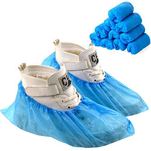 Disino 100 Pezzi/50 Paia Impermeabili Copriscarpe Monouso, Antiscivolo CPE Soprascarpe Copriscarpa in Plastica, Copri Scarpe usa e getta per Pavimento Tappeti Protezione (Blu, Taglia Unica)