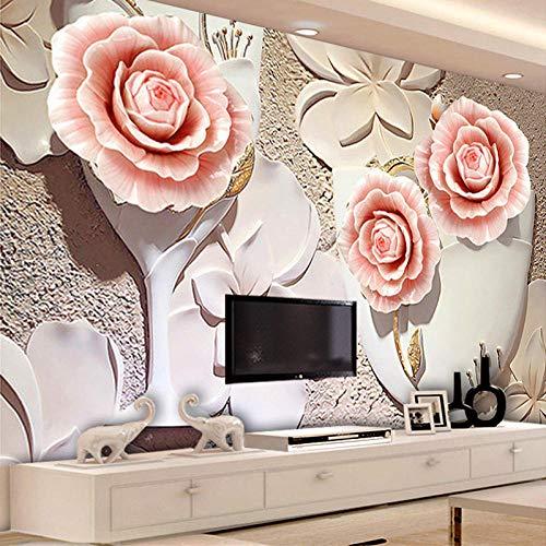 Benutzerdefinierte Größe Moderne Einfache 3D Blume Wandbild Tief Geprägte Vliestapete für Wohnzimmer Schlafzimmer Hintergrund Wand Wohnkultur-430 * 300 cm