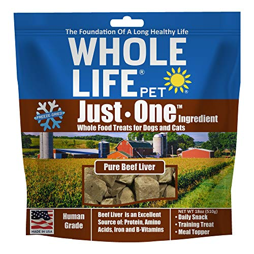 Whole Life Pet Products BL018 Healthy Dog and Cat Treats Value Pack, Human-Grade Beef Liver, Protein Rich for Training, Picky Eaters, Digestion, Weight Control, Made in the USA, 18 Ounce