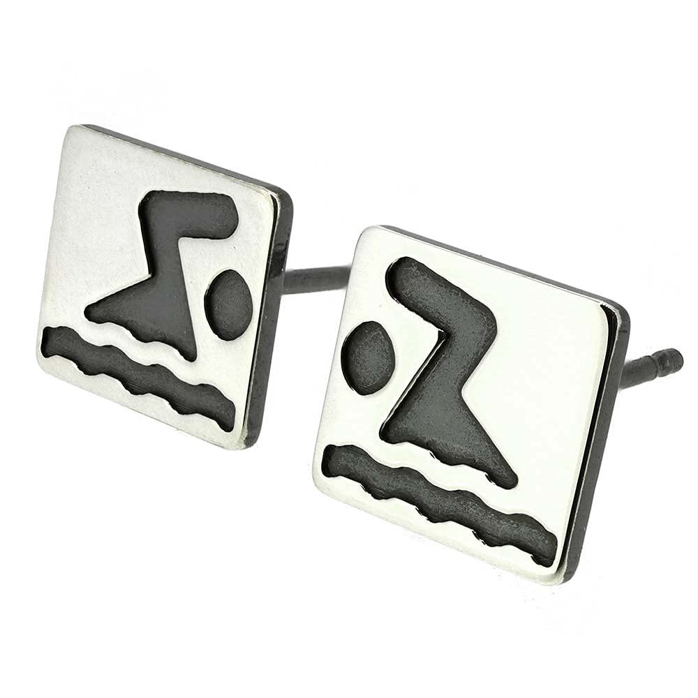 Swimmer Swim Cheap mail order shopping Stud Earrings quality assurance Polished Handmade Silver Sterling in