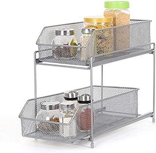 Étagère de cuisine HAITRAL - 2 étages - Tiroir de rangement - Pour la cuisine, l'armoire, le plan de travail