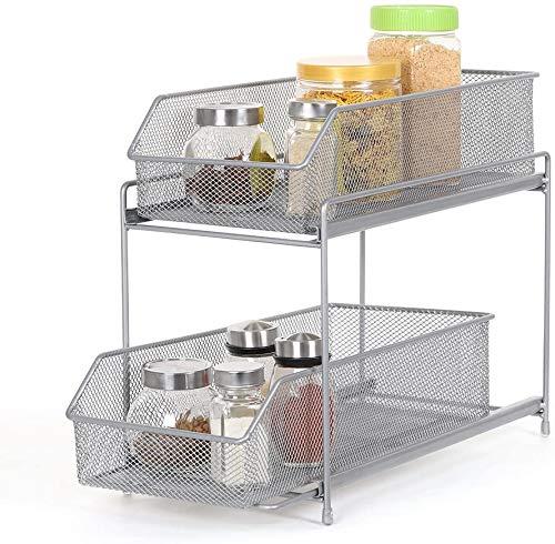 HAITRAL Küchen Etagenregal, 2 Etagen Schiebe Schublade Aufbewahrungs Organisator Schubladenregal für Küche, Schrank, Arbeitsplatte - Silber
