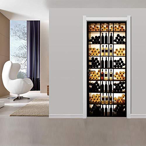 FCFLXJPegatinas de la puerta 3D vinoteca del gabinete cartel mural fondo del hogar dormitorio decoración de la puerta de PVC papel autoadhesivo 77x200cmTridimensional Autoadhesivo