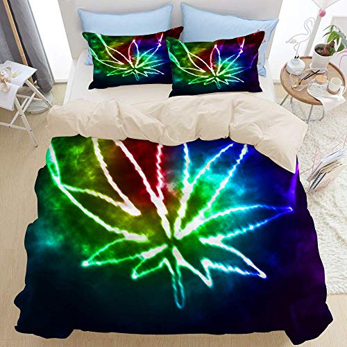 227 Juego de funda de edredón King, abstracto de marihuana, dormitorio de 3 piezas, edredón de microfibra de plumón, cierre de cremallera con 2 fundas de almohada