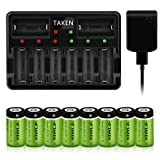 CR123A Rechargeable Batteries, Taken 3.7V 750mA Li-ion Rechargeable Batteries for Arlo Camera (VMC3030/VMK3200/VMS3330/3430/3530), 8 Pack RCR123A Batteries with 8-Ports Charger