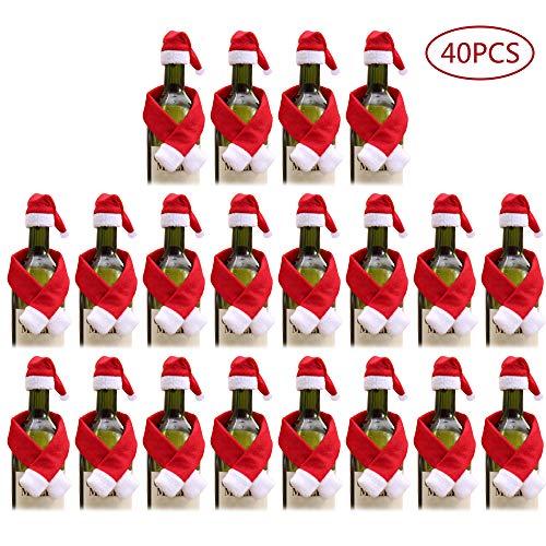 ONEYIM 40pcs Mini Santa Hat Christmas Scarf for Wine Bottle Christmas Gift Home Christmas Decor (40PCS)