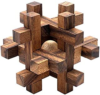 SiamMandalay Lock-a-Ball: Wood Mechanical Interlocking Puzzle - Handmade & Organic 3D Brainteaser Wooden Puzzle for Adults from with SM Gift Box(Pictured)
