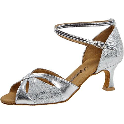Diamant - Damen Tanzschuhe 141-077-463 - Silber - 5 cm Flare Absatz [UK 3]