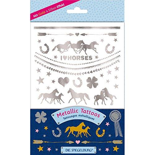 Metallic-Tattoos * PFERDEFREUNDE * zum Sammeln, Verzieren und Aufkleben // Pferde Pony Reiten Geschenk Mitgebsel Kinder Geburtstag